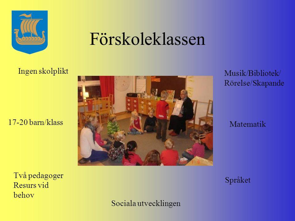Förskoleklassen Ingen skolplikt Musik/Bibliotek/ Rörelse/Skapande