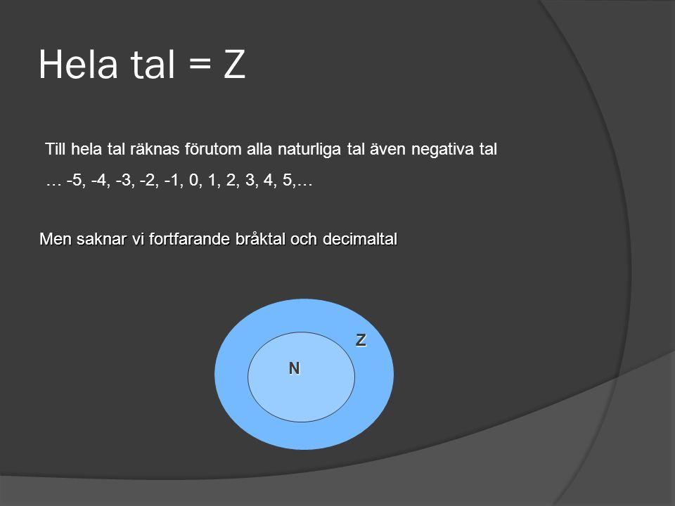 Hela tal = Z Till hela tal räknas förutom alla naturliga tal även negativa tal. … -5, -4, -3, -2, -1, 0, 1, 2, 3, 4, 5,…