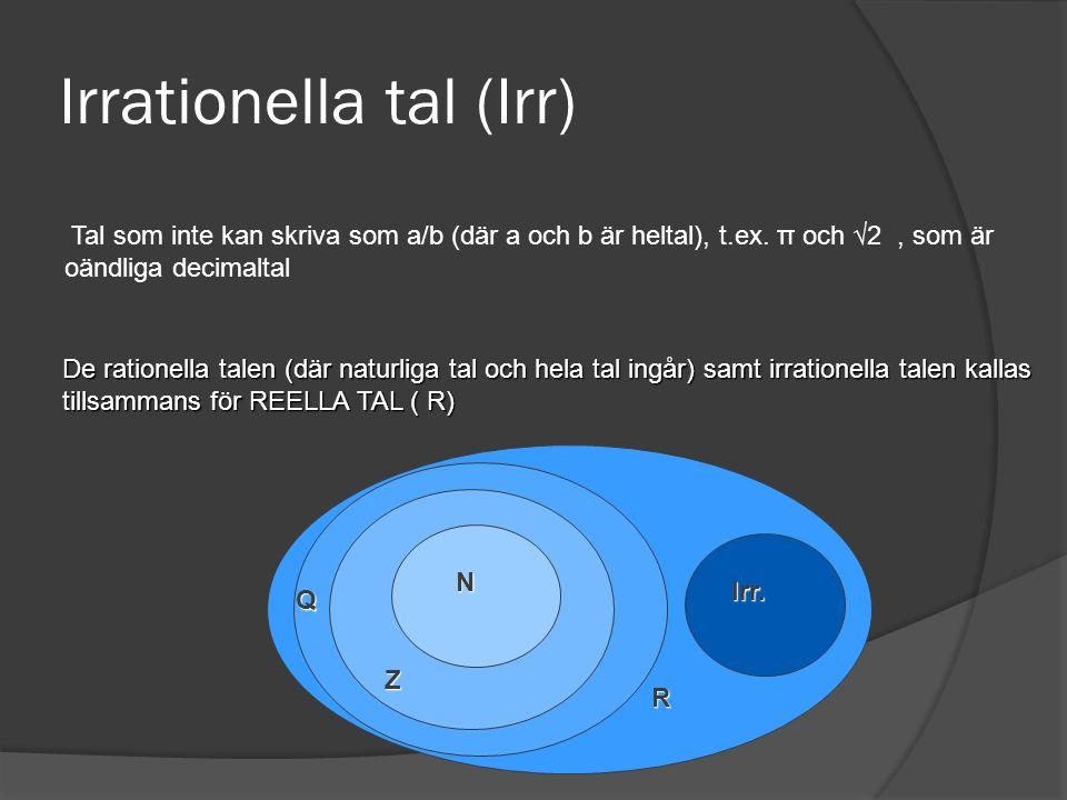 Irrationella tal (Irr)
