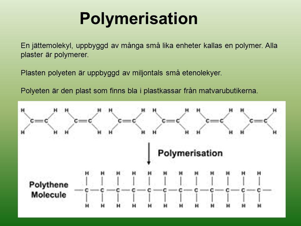 Polymerisation En jättemolekyl, uppbyggd av många små lika enheter kallas en polymer. Alla plaster är polymerer.