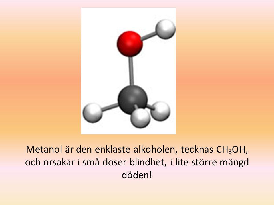 Metanol är den enklaste alkoholen, tecknas CH₃OH, och orsakar i små doser blindhet, i lite större mängd döden!