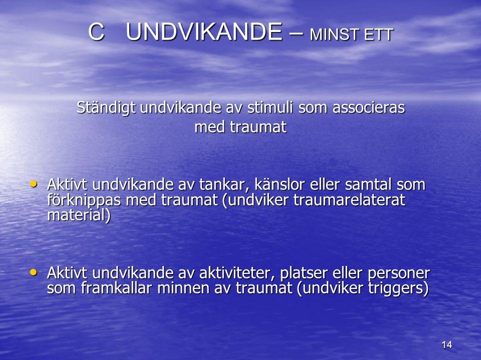 C UNDVIKANDE – MINST ETT