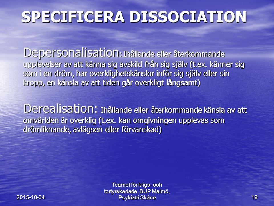 Specificera dissociation