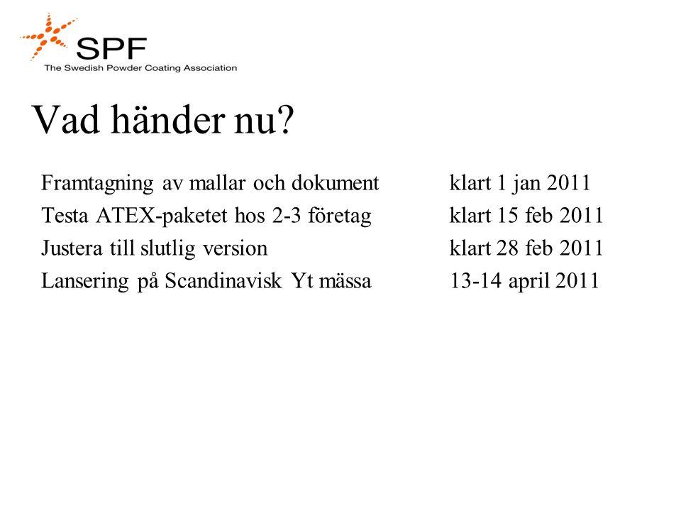 Vad händer nu Framtagning av mallar och dokument klart 1 jan 2011