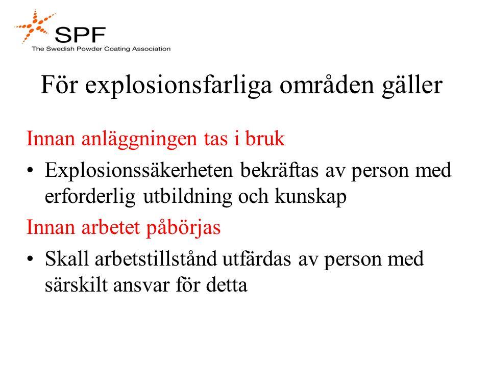 För explosionsfarliga områden gäller
