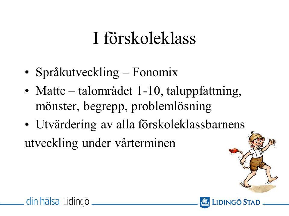 I förskoleklass Språkutveckling – Fonomix