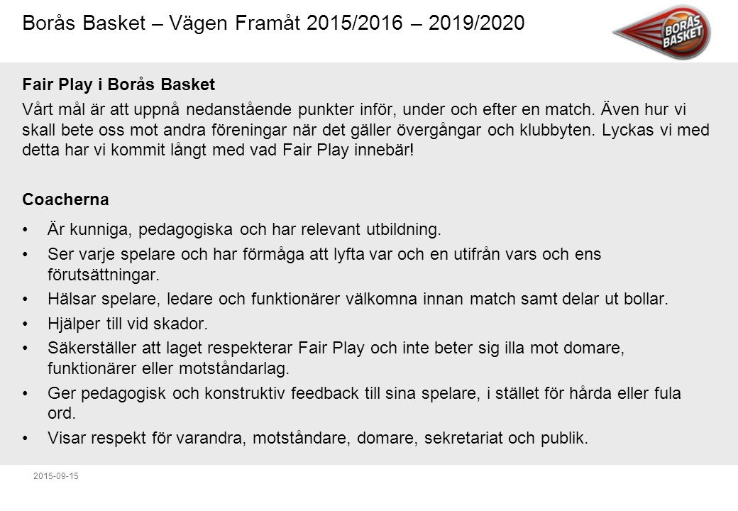 Fair Play i Borås Basket