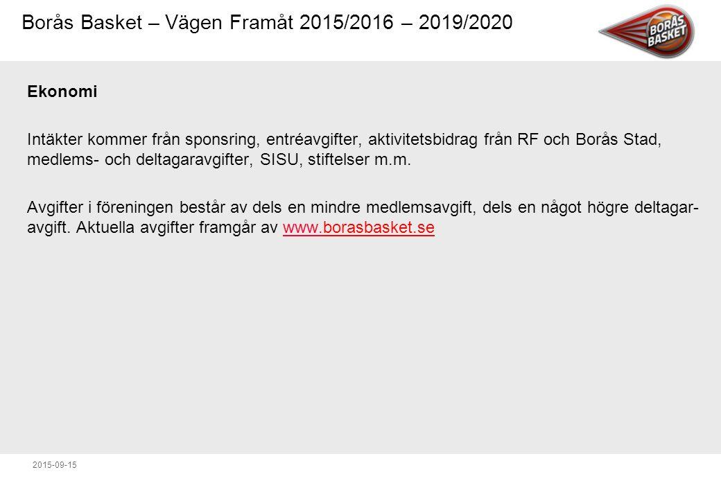 Ekonomi Intäkter kommer från sponsring, entréavgifter, aktivitetsbidrag från RF och Borås Stad, medlems- och deltagaravgifter, SISU, stiftelser m.m.