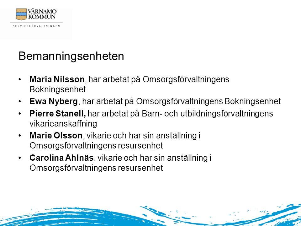 Bemanningsenheten Maria Nilsson, har arbetat på Omsorgsförvaltningens Bokningsenhet. Ewa Nyberg, har arbetat på Omsorgsförvaltningens Bokningsenhet.