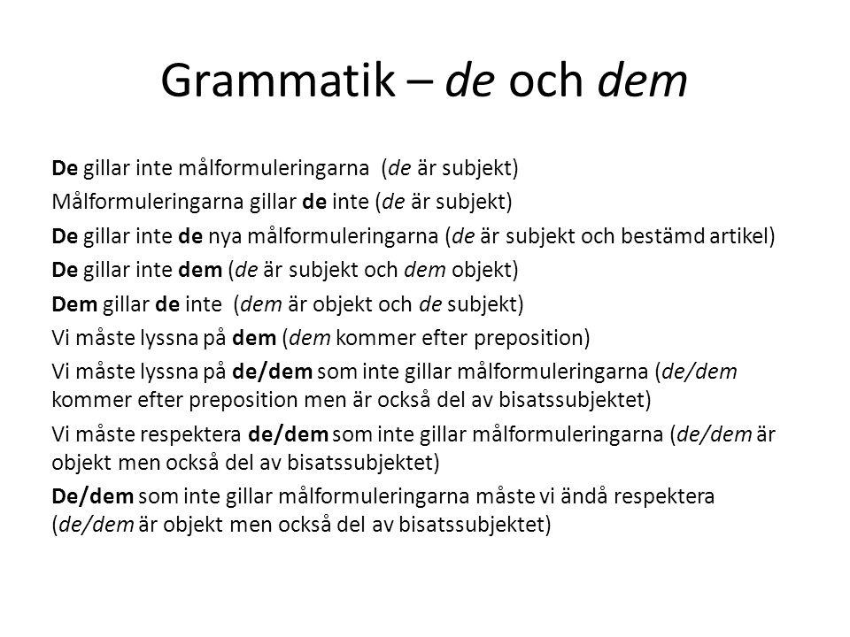 Grammatik – de och dem