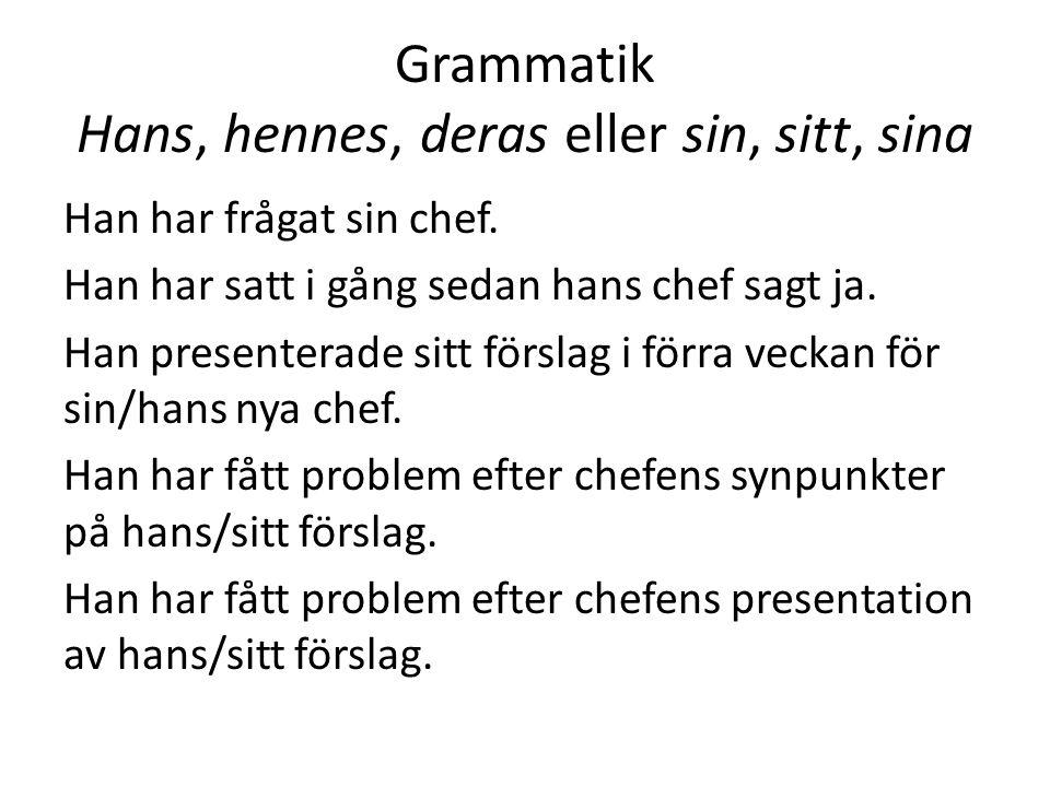 Grammatik Hans, hennes, deras eller sin, sitt, sina
