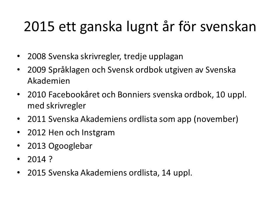 2015 ett ganska lugnt år för svenskan