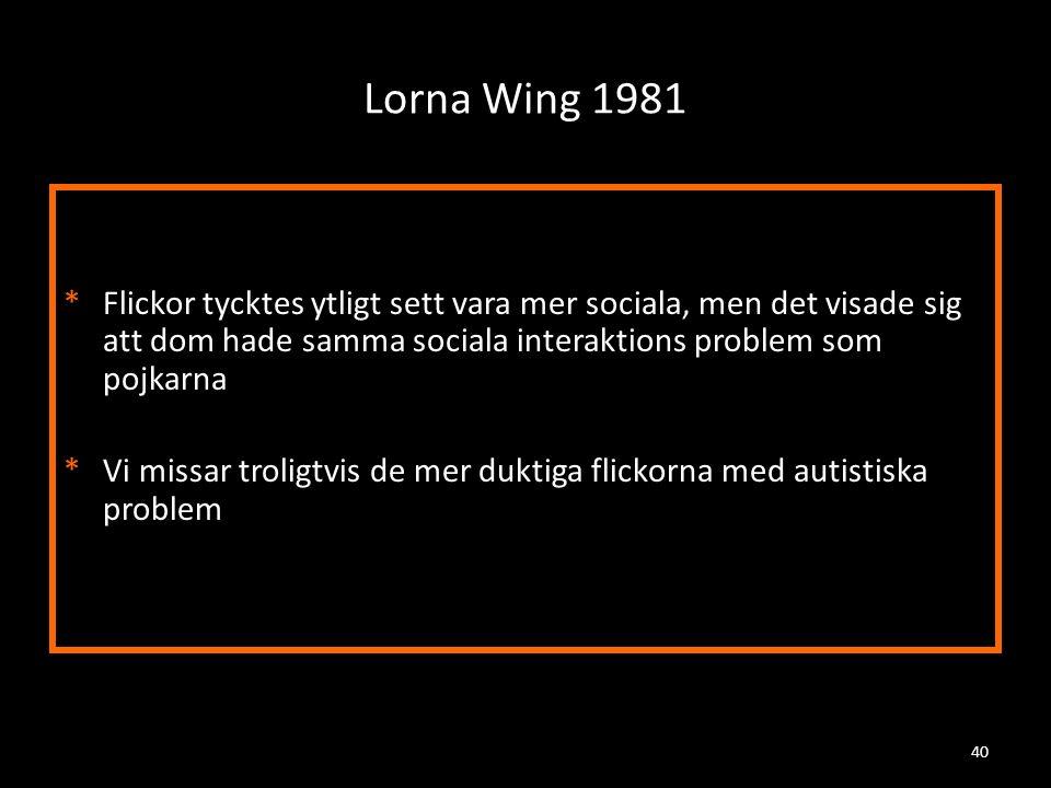 Lorna Wing 1981 Flickor tycktes ytligt sett vara mer sociala, men det visade sig att dom hade samma sociala interaktions problem som pojkarna.