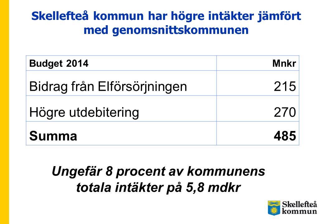Ungefär 8 procent av kommunens totala intäkter på 5,8 mdkr
