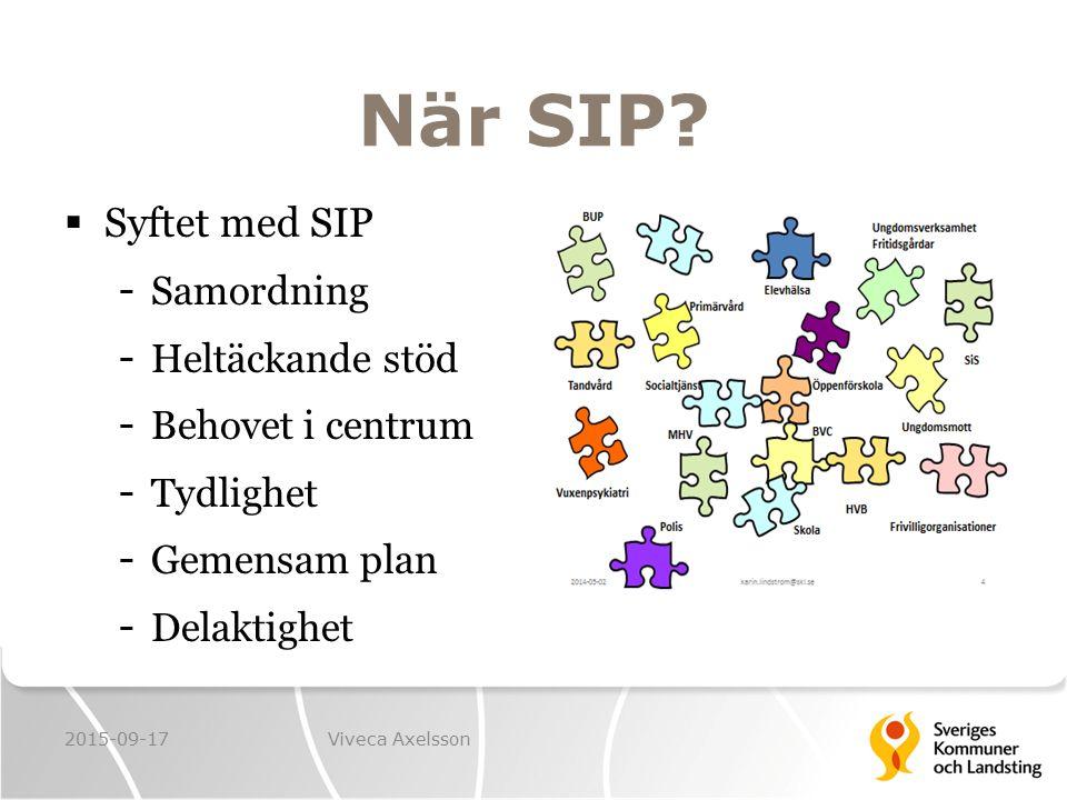 När SIP Syftet med SIP Samordning Heltäckande stöd Behovet i centrum