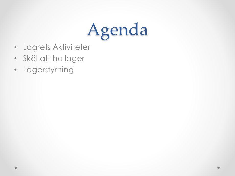 Agenda Lagrets Aktiviteter Skäl att ha lager Lagerstyrning