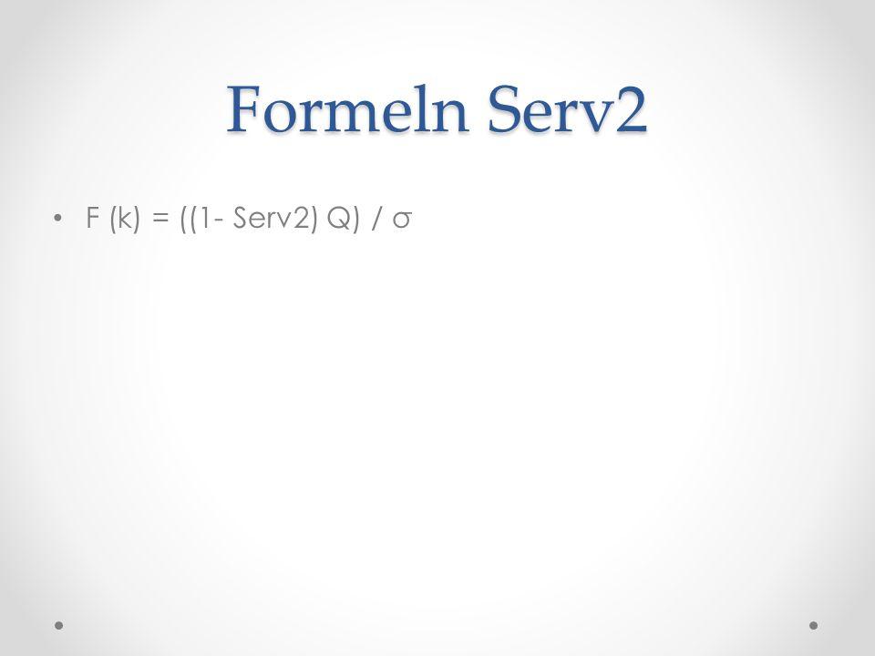 Formeln Serv2 F (k) = ((1- Serv2) Q) / σ