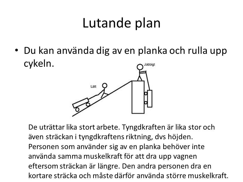 Lutande plan Du kan använda dig av en planka och rulla upp cykeln.
