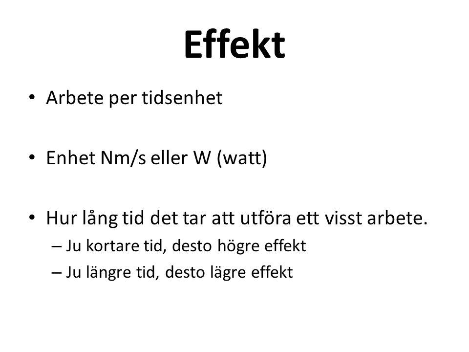 Effekt Arbete per tidsenhet Enhet Nm/s eller W (watt)