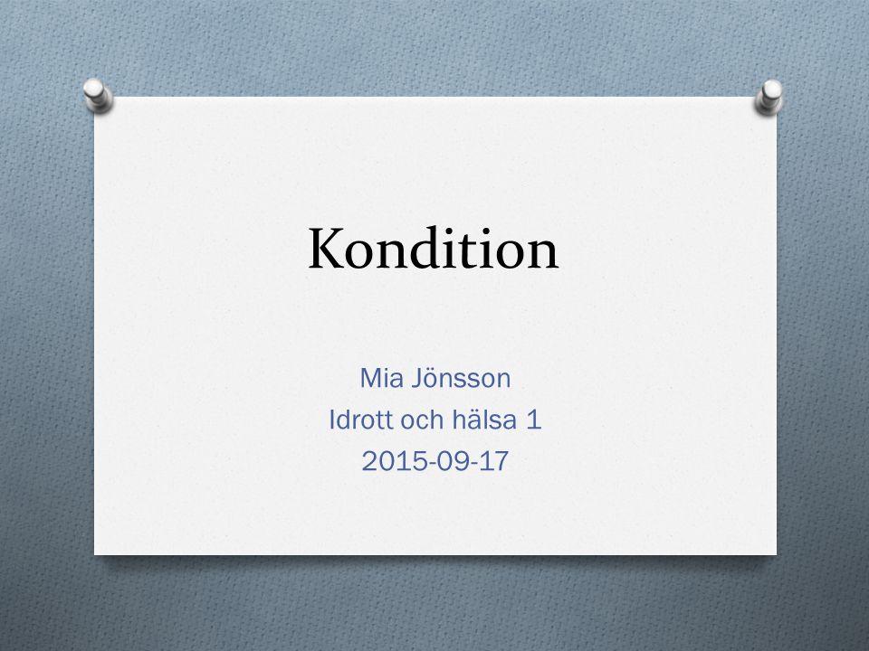 Mia Jönsson Idrott och hälsa 1 2015-09-17