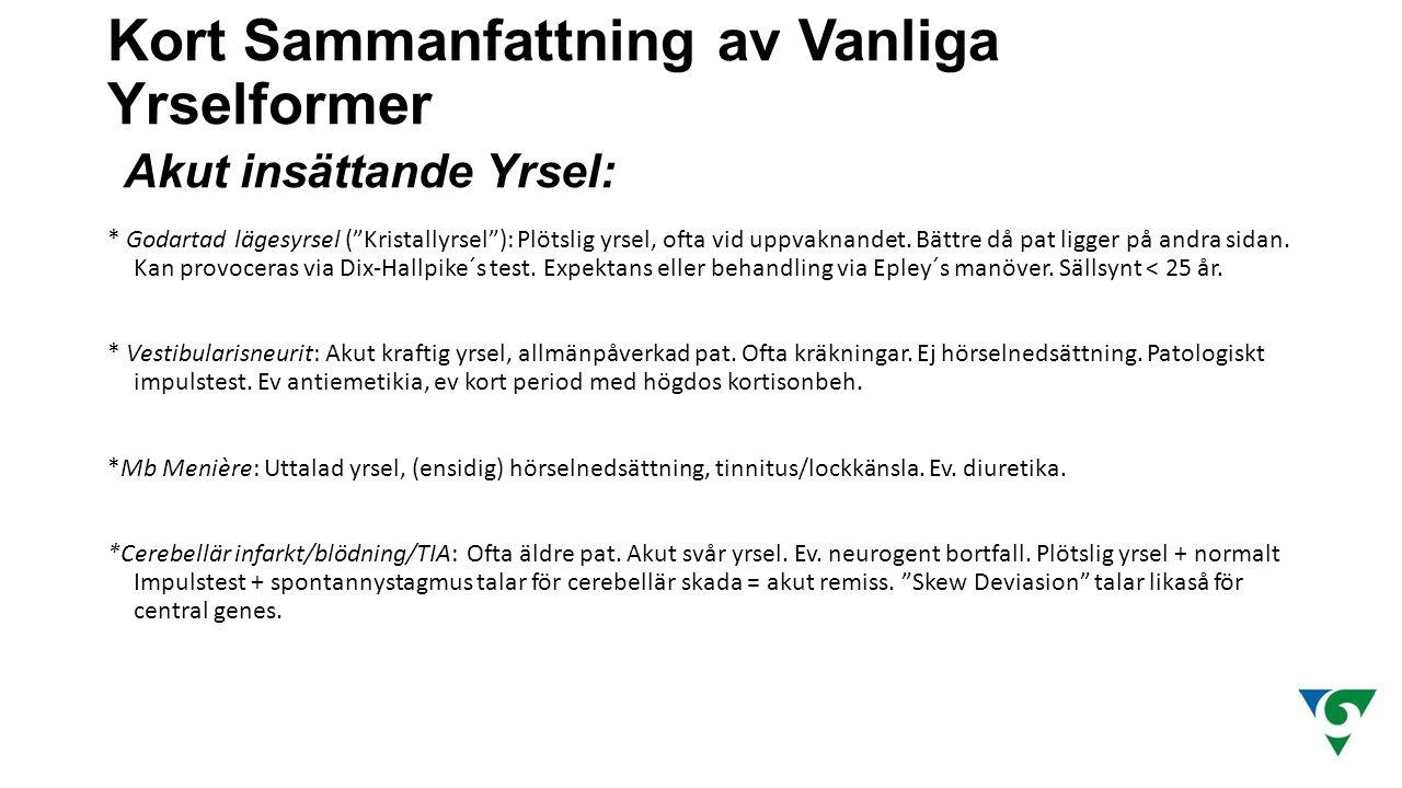 Kort Sammanfattning av Vanliga Yrselformer Akut insättande Yrsel: