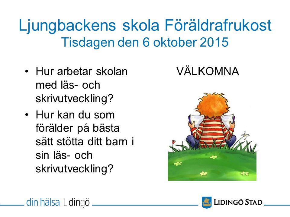 Ljungbackens skola Föräldrafrukost Tisdagen den 6 oktober 2015