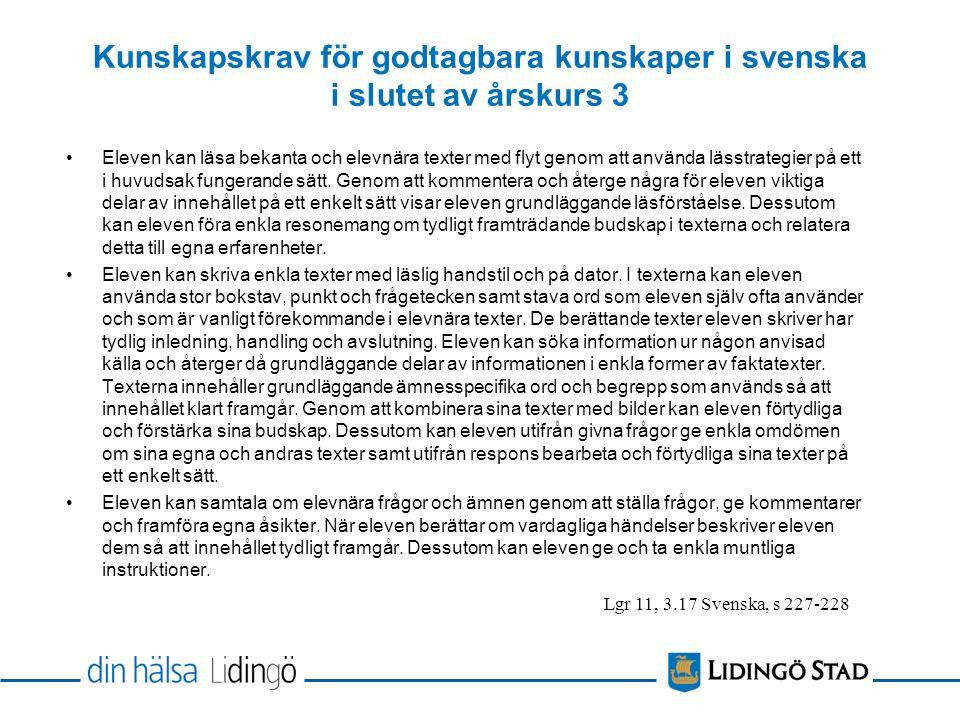 Kunskapskrav för godtagbara kunskaper i svenska i slutet av årskurs 3