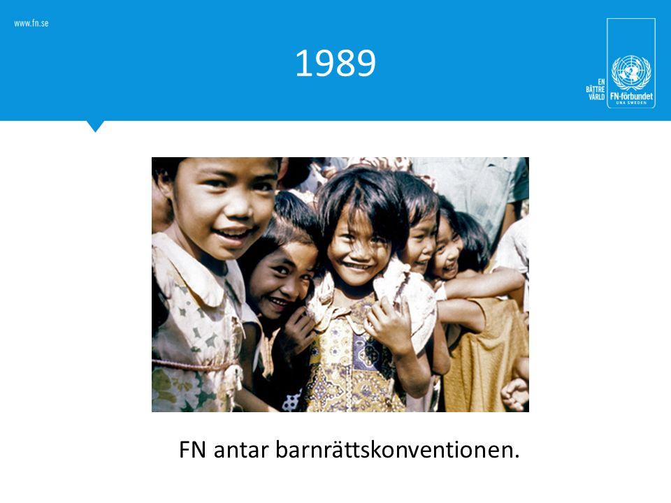 FN antar barnrättskonventionen.