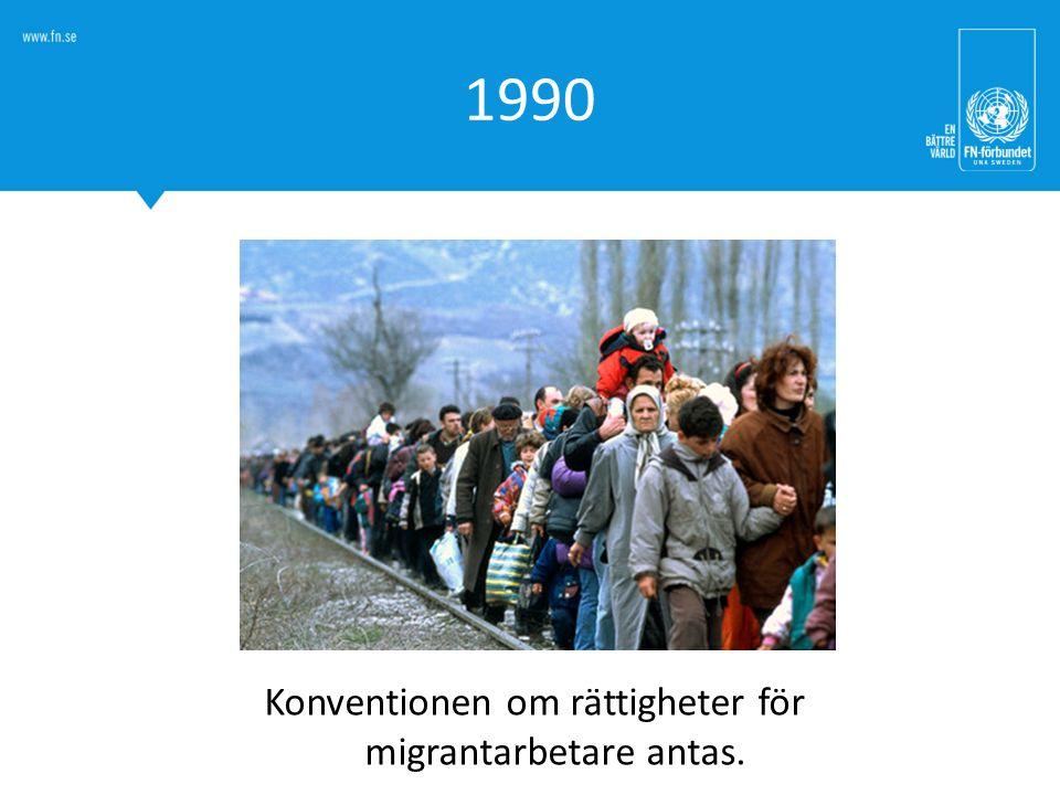 Konventionen om rättigheter för migrantarbetare antas.