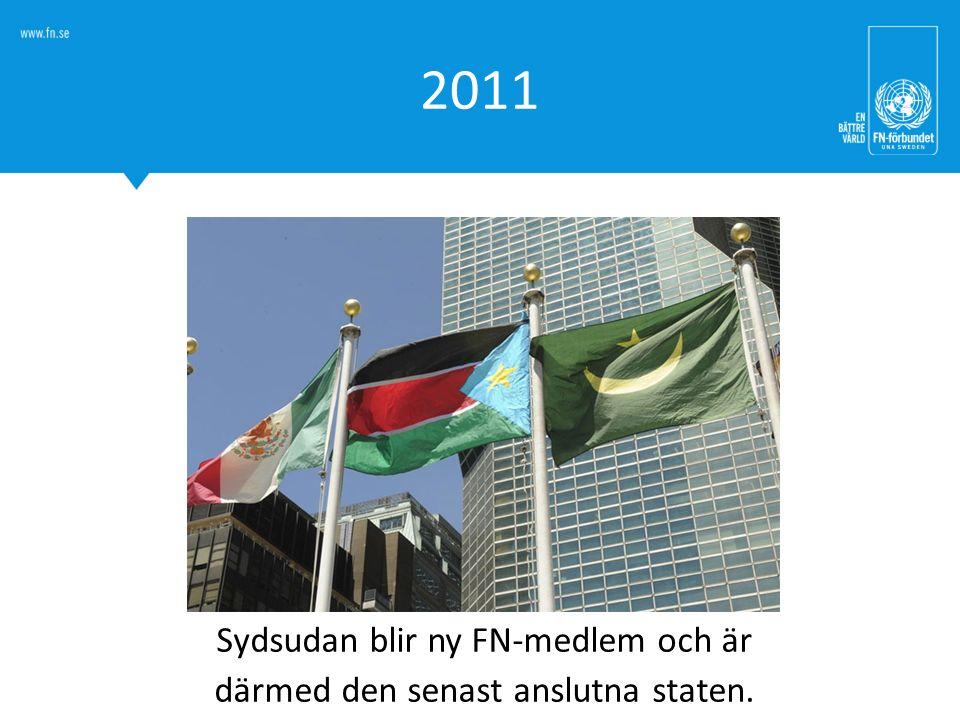 Sydsudan blir ny FN-medlem och är därmed den senast anslutna staten.