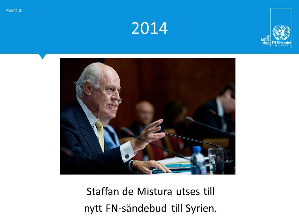 Staffan de Mistura utses till nytt FN-sändebud till Syrien.