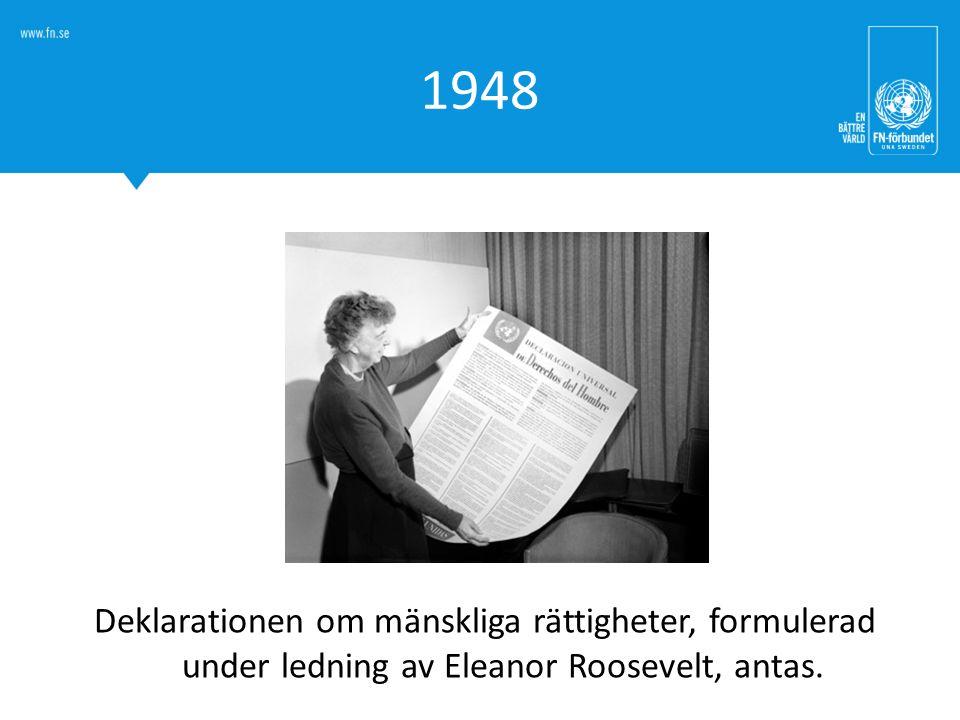 1948 När förklaringen skrevs möjliggjorde den början till ett universellt arbete för alla människors lika fri- och rättigheter.