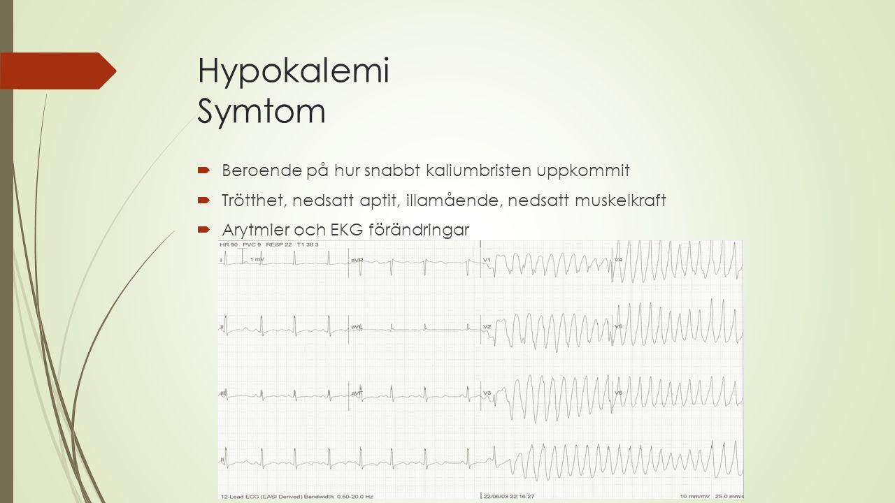 Hypokalemi Symtom Beroende på hur snabbt kaliumbristen uppkommit