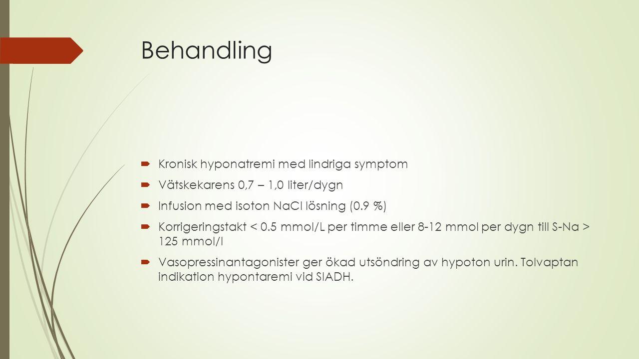 Behandling Kronisk hyponatremi med lindriga symptom