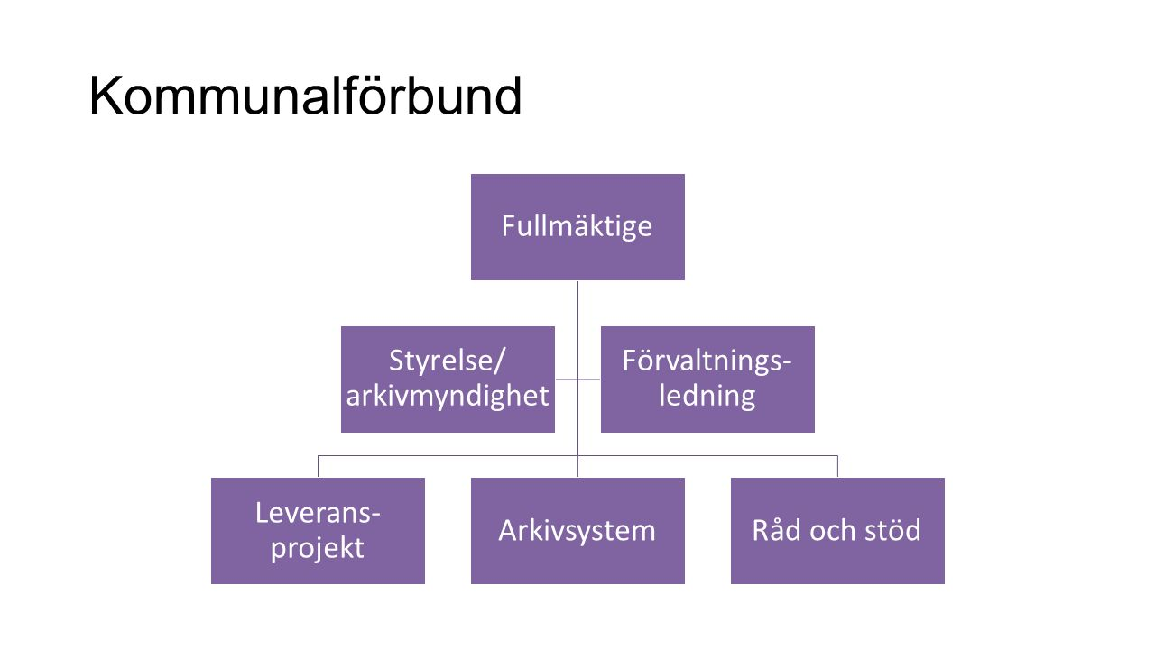 Kommunalförbund Fullmäktige Styrelse/ arkivmyndighet Leverans-projekt
