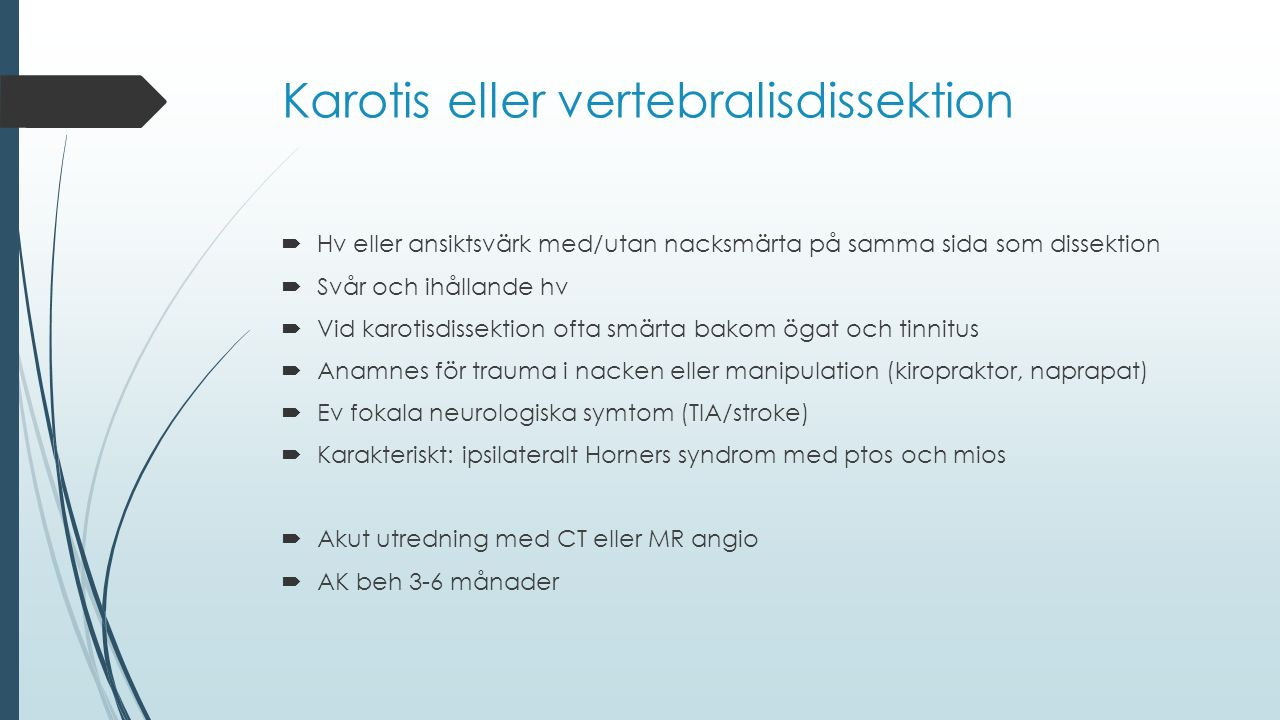 Karotis eller vertebralisdissektion