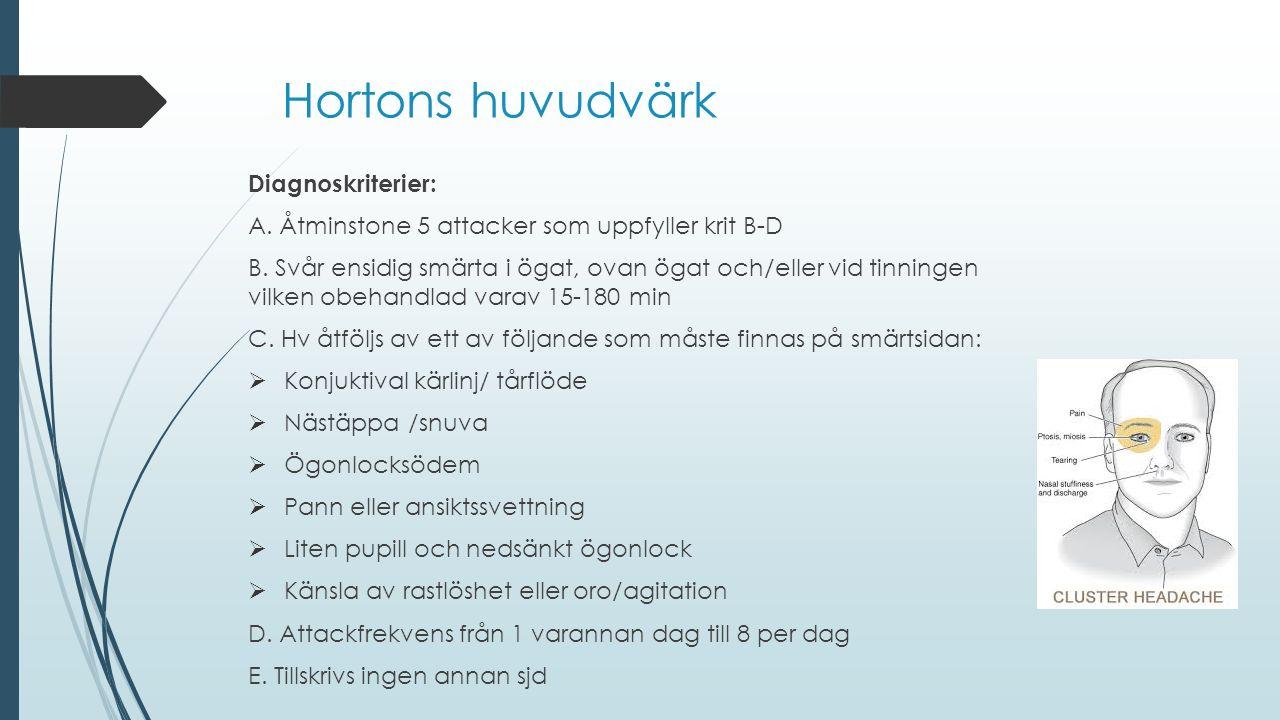 Hortons huvudvärk Diagnoskriterier: