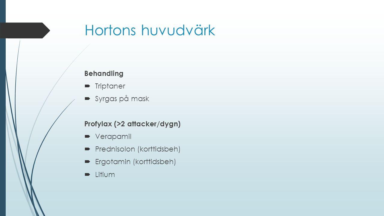 Hortons huvudvärk Behandling Triptaner Syrgas på mask
