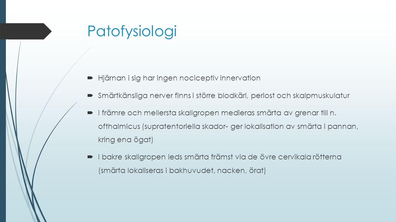 Patofysiologi Hjärnan i sig har ingen nociceptiv innervation