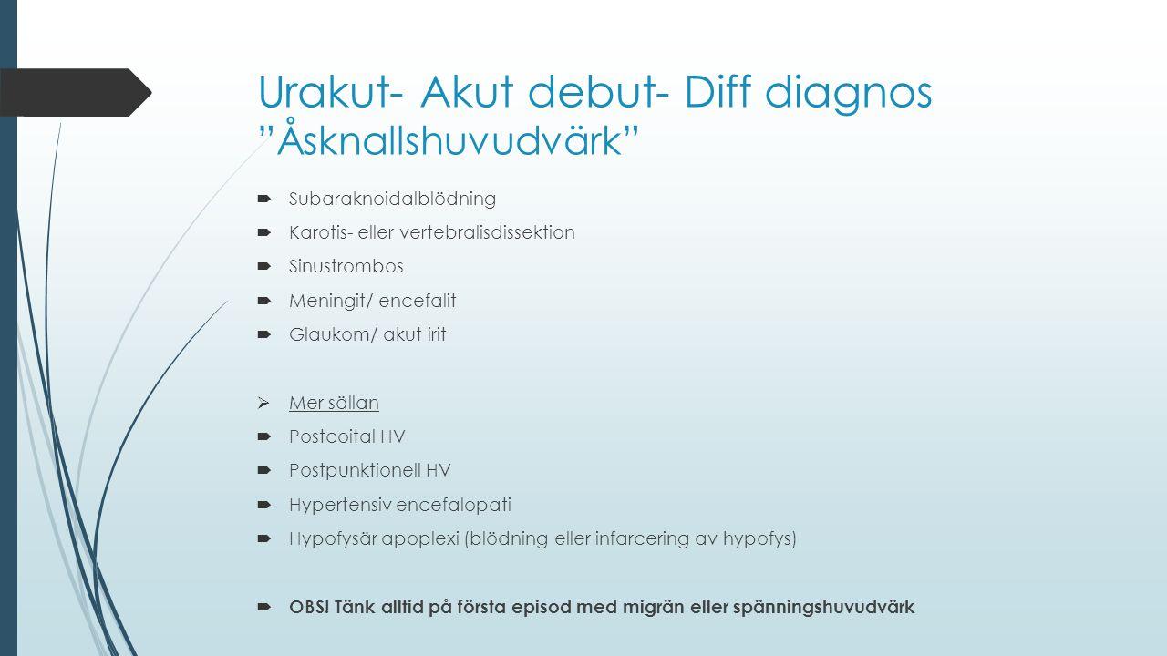 Urakut- Akut debut- Diff diagnos Åsknallshuvudvärk