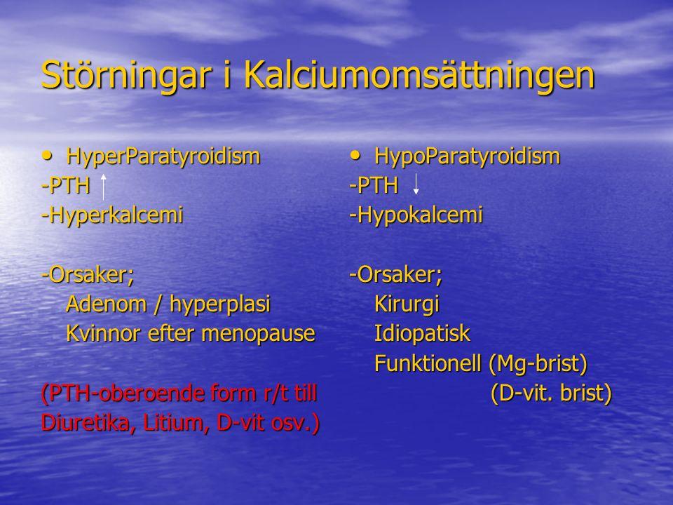 Störningar i Kalciumomsättningen