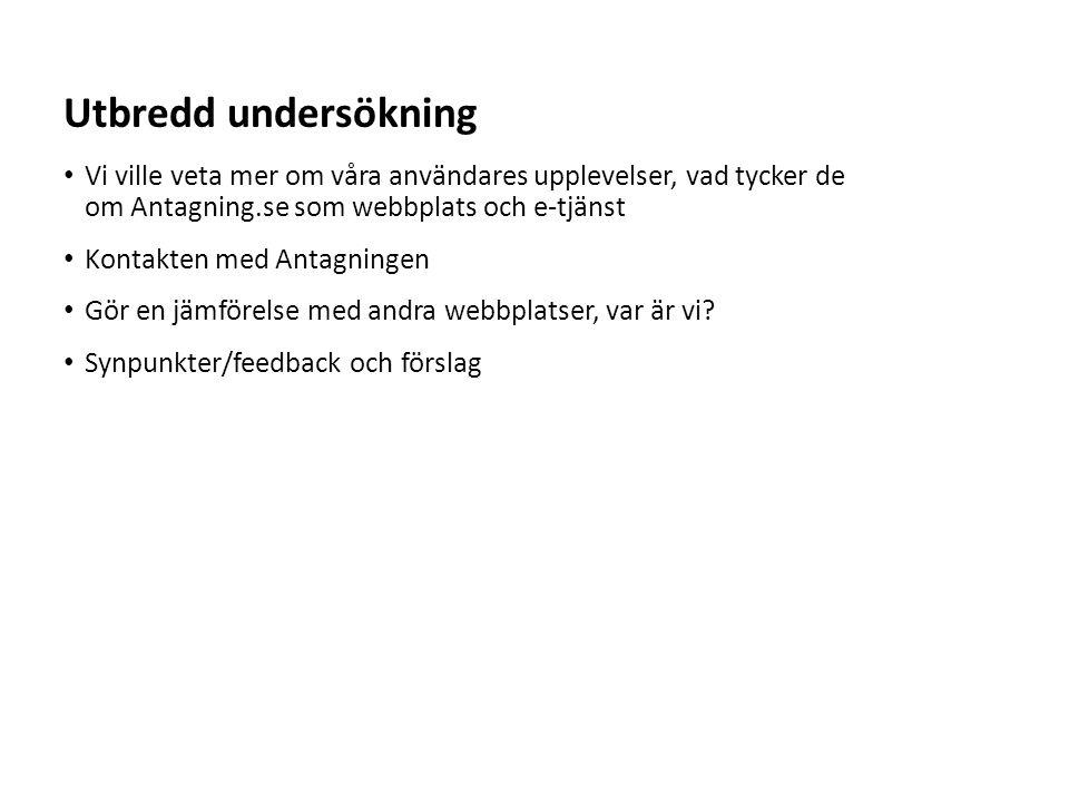 Utbredd undersökning Vi ville veta mer om våra användares upplevelser, vad tycker de om Antagning.se som webbplats och e-tjänst.