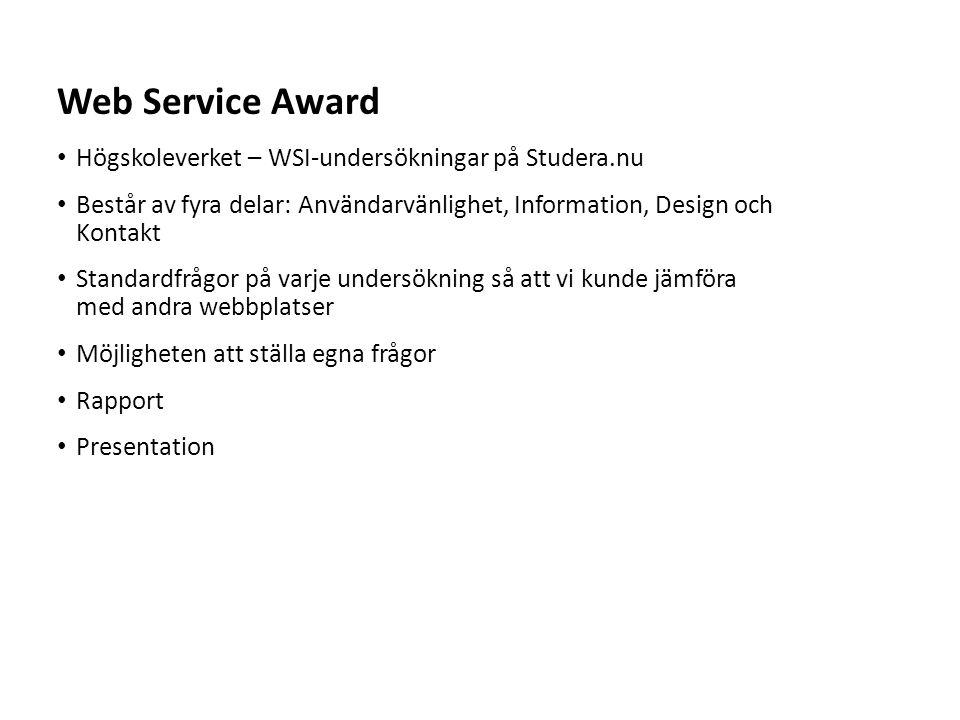 Web Service Award Högskoleverket – WSI-undersökningar på Studera.nu