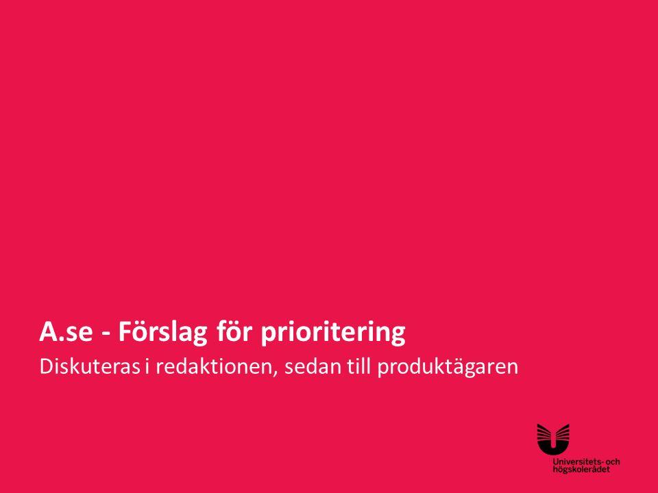 A.se - Förslag för prioritering