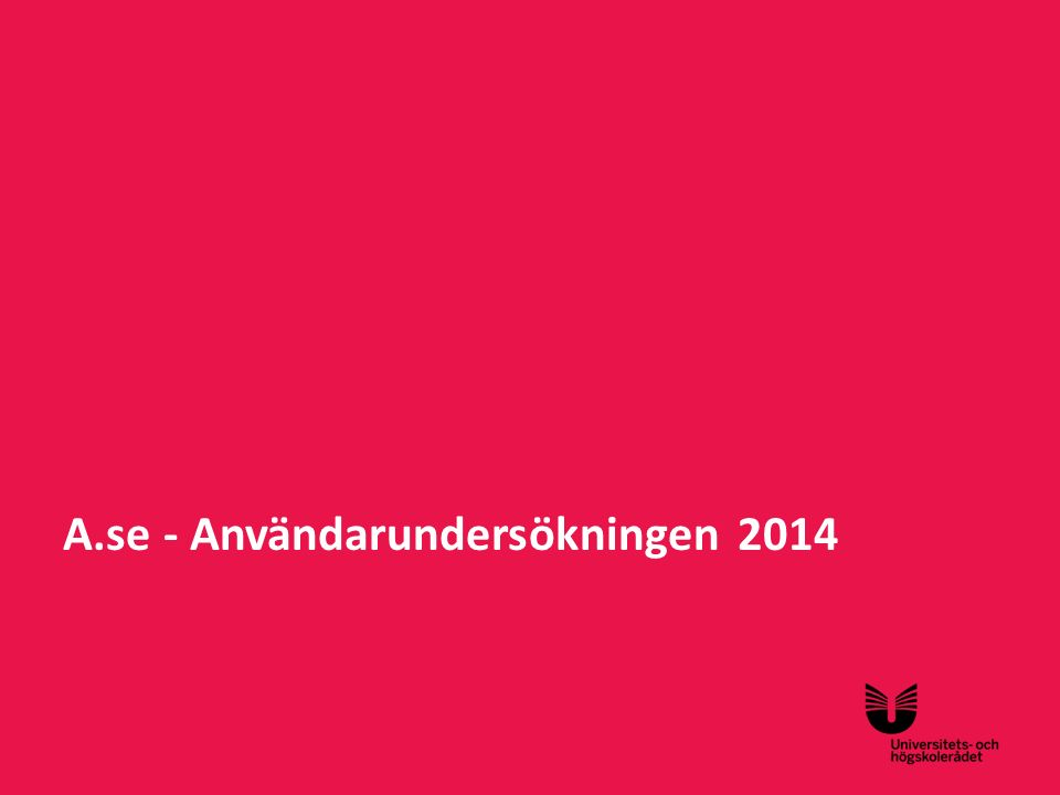 A.se - Användarundersökningen 2014