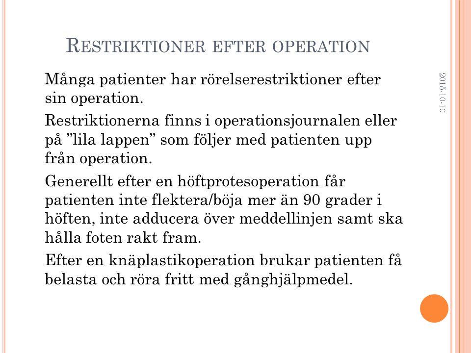 Restriktioner efter operation