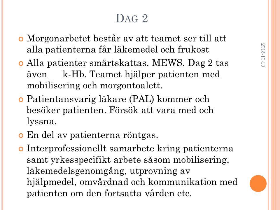 Dag 2 Morgonarbetet består av att teamet ser till att alla patienterna får läkemedel och frukost.