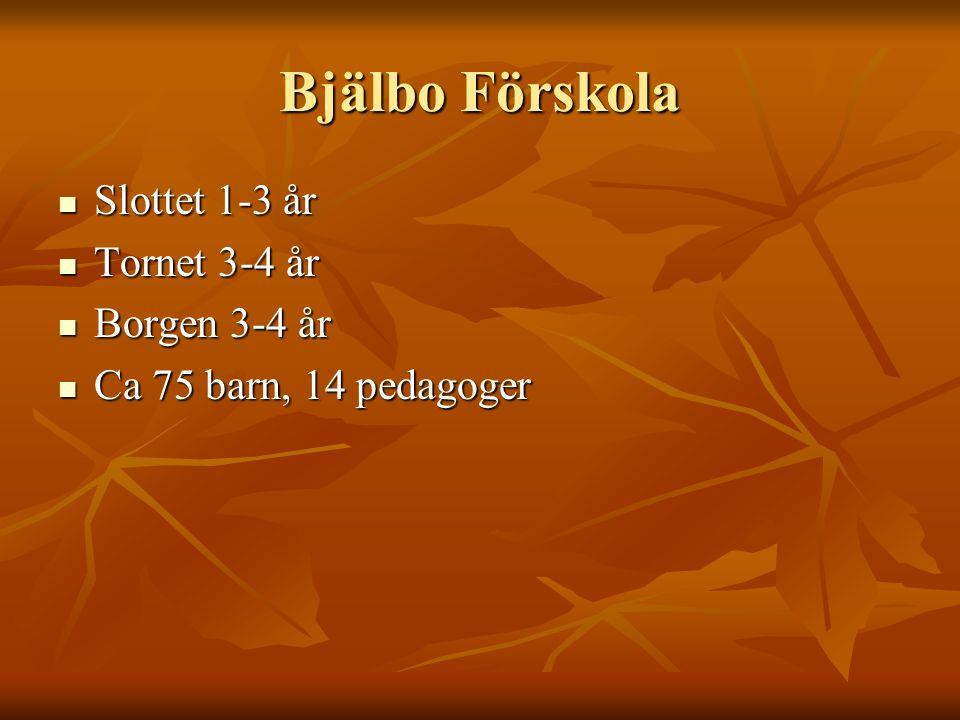 Bjälbo Förskola Slottet 1-3 år Tornet 3-4 år Borgen 3-4 år