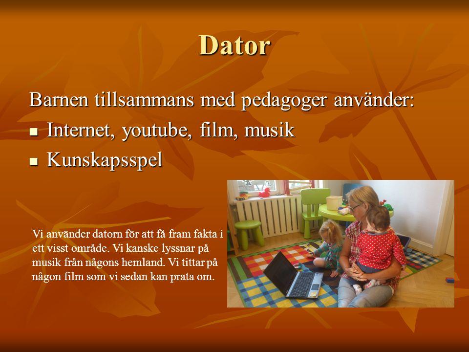 Dator Barnen tillsammans med pedagoger använder: