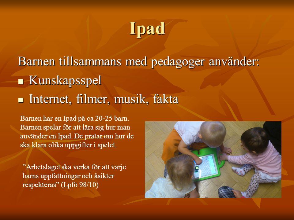 Ipad Barnen tillsammans med pedagoger använder: Kunskapsspel